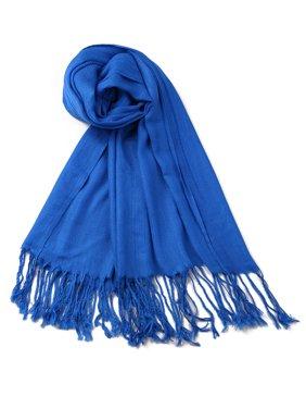 Women Lady Solid-colored Fringed Daul-use Pashmina Wrap Shawl Scarf
