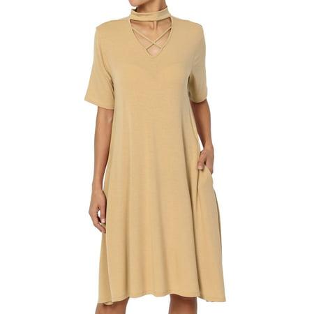 Mock Wrap Jersey Dress - TheMogan Women's Cross Mock Neck Short Sleeve Flowy Pocket Flared T-Shirt Dress