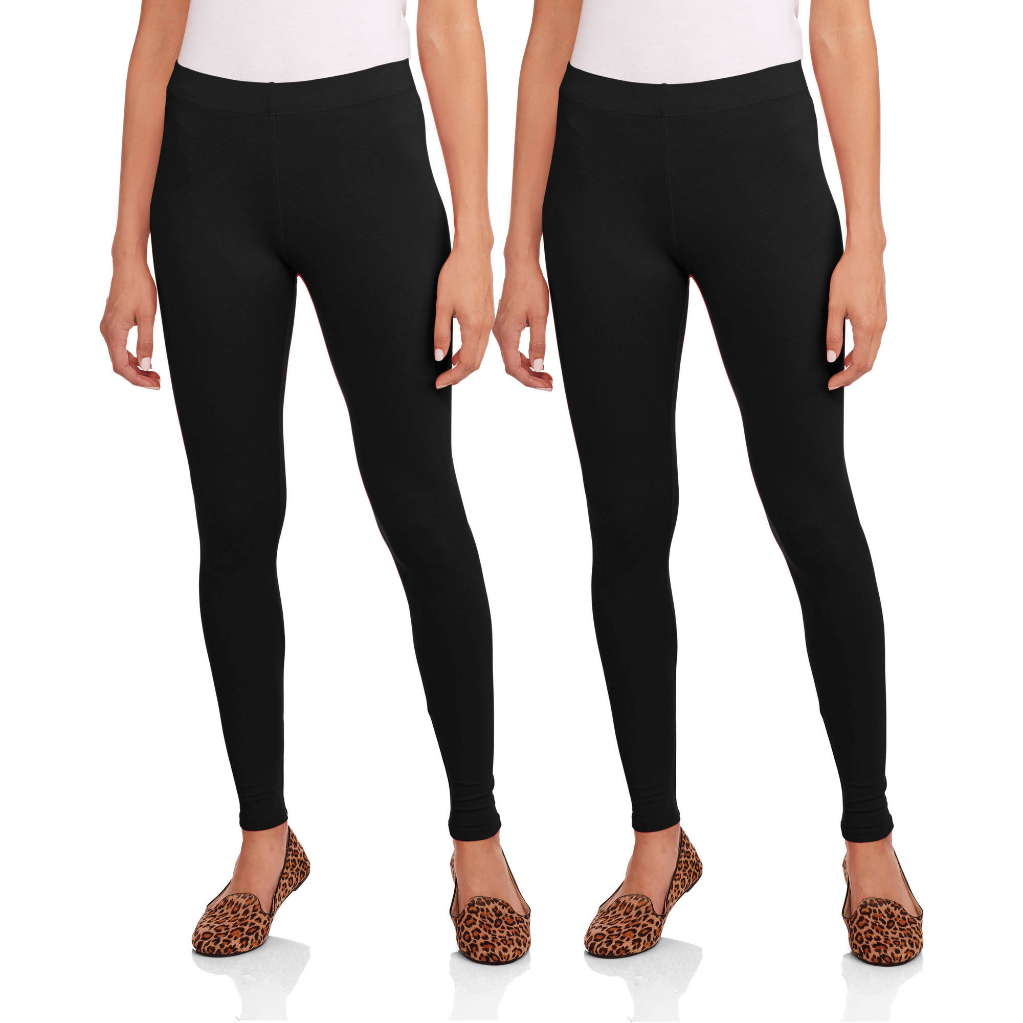 Faded Glory Women's Essential Leggings, 2-Pack