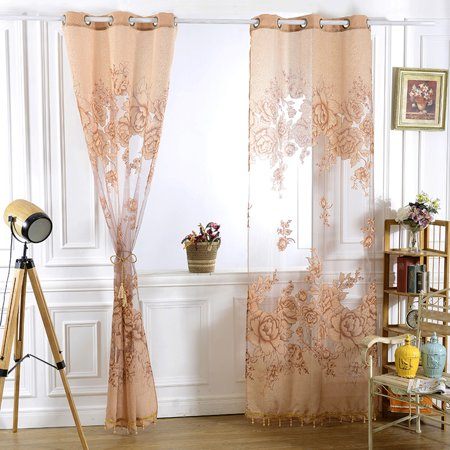 Romantic Modern Floral Peony Tulle Living Room Drapery Valances Window Curtain Yellow 98.4 in x 39.37 in ()