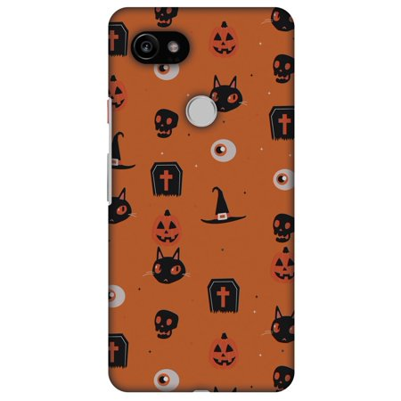 Google Pixel 2 XL Case, Premium Handcrafted Printed Halloween Designer Hard Shell ShockProof Case Ultra Slim Fit Back Cover for Pixel 2 XL - Spooky Collage, Fit 6 Inch Pixel 2 XL, Thin Hard Cover (Pixel Art De Halloween)