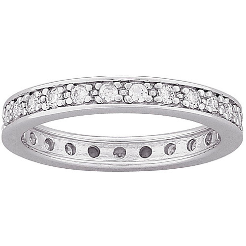 0.9 Carat T.G.W. Round CZ Eternity Band in Sterling Silver