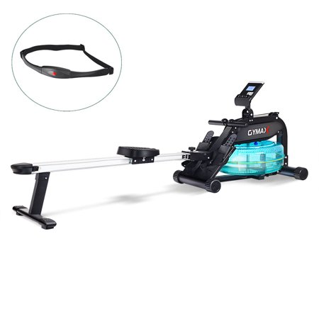 Gymax Water Rowing Machine Home Water Rower Adjustable Resistance LCD Monitor