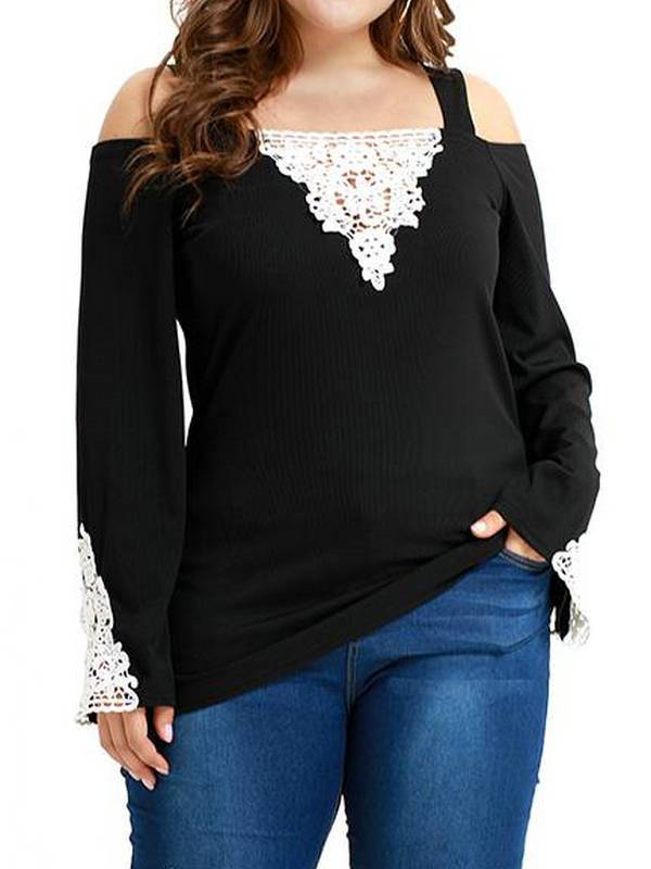 AKFashion Women's Plus Size Lace Long Sleeve Square Neck Bodycon Cold Shoulder Blouse Shirts Tops