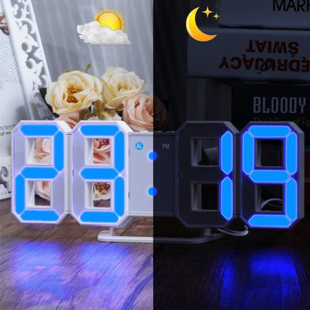 Blue LED Digital Alarm Clock Numbers Wall Clock Large 3D Display with 3 levels Brightness Alarm Snooze Clock Dimmer, Snooze Time](large display led clock)