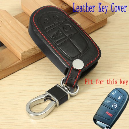 4 Buttons PU Leather Key FOB Case Cover For Jeep Grand Chrysler 300 Dodge Fiat