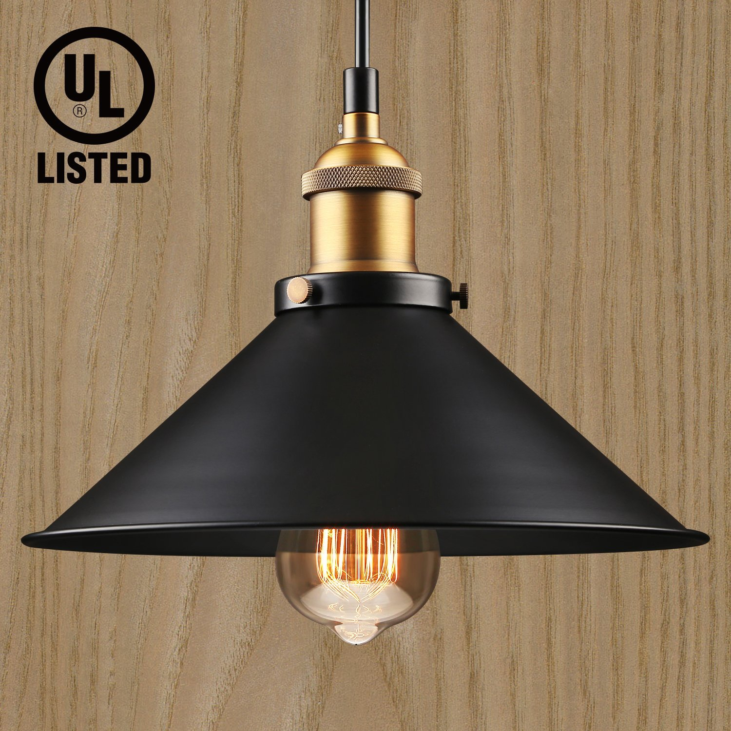 LEONLITE Industrial Hanging Pendant Light, Retro Vintage Style, Matte Black Metal Shade, Exquisite Workmanship, for Dining Room, Bars, Warehouse, E26 Base