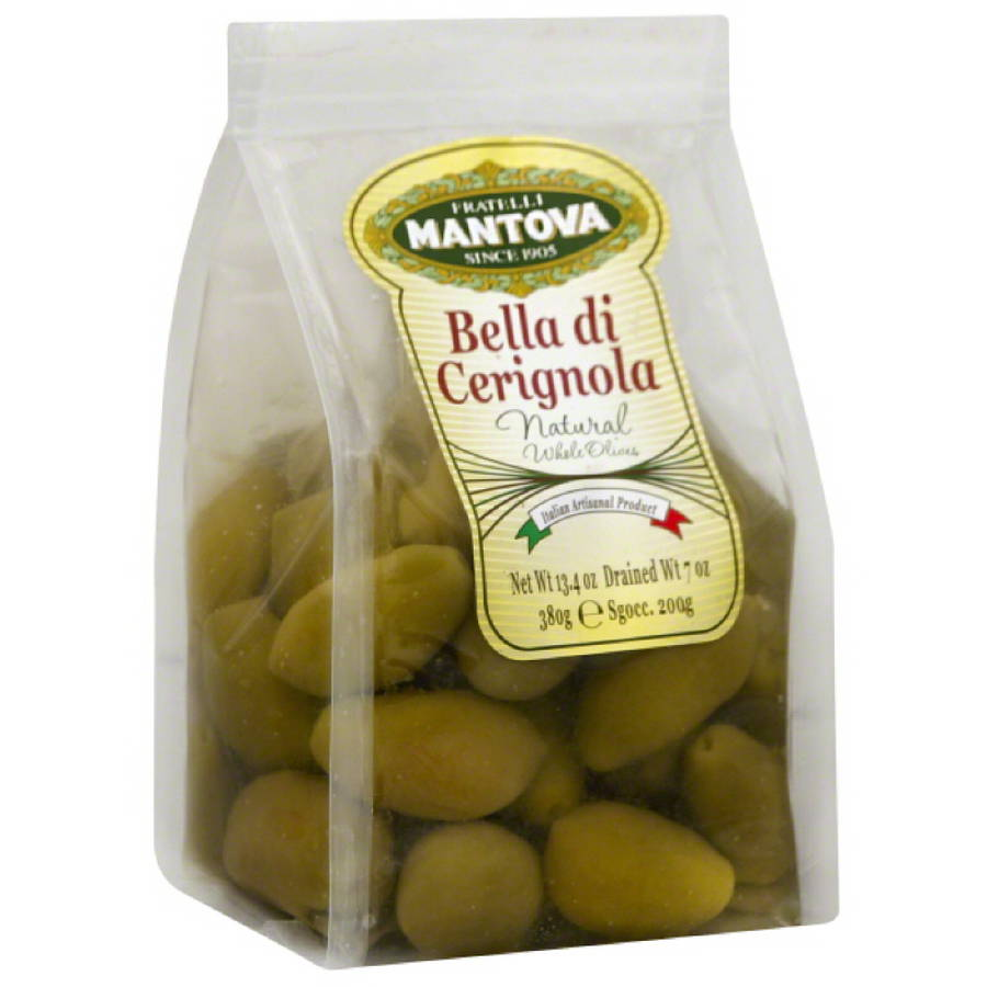 Mantova Bella di Cerignola Natural Whole Olives, 13.4 oz, (Pack of 6)