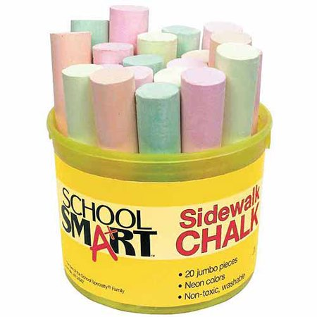School Smart Sidewalk Chalk, 4 x 1 Inches, Assorted Neon Colors, Pack of 20