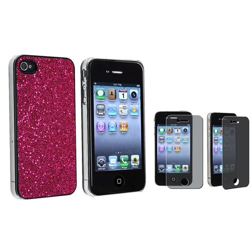 INSTEN Hot Pink Bling Hard Case+PRIVACY SCREEN FILTER Film for Sprint iPhone 4/4S