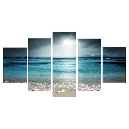 Modern Abstract Canvas (Moaere Framed/Unframed 5Pcs Oil Painting Reproduction Modern Giclee Sunset Seaside Canvas Prints Artwork Abstract Landscape Pictures Printed on Canvas Wall Art Home Office Decorati )