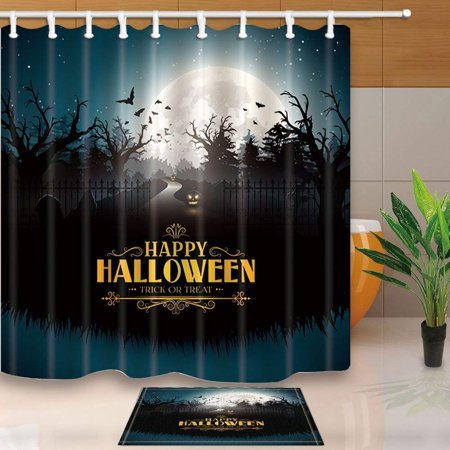 BPBOP Happy Halloween Decor, Scary Pumpkins in Gloomy Woods Shower Curtain 66x72 inches with Floor Doormat Bath Rugs 15.7x23.6 inches (100 Floors Level 15 Halloween)