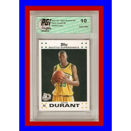 Kevin Durant Autographed Basketball - Kevin Durant Rare 2007 Topps White Rookie Card PGI 10
