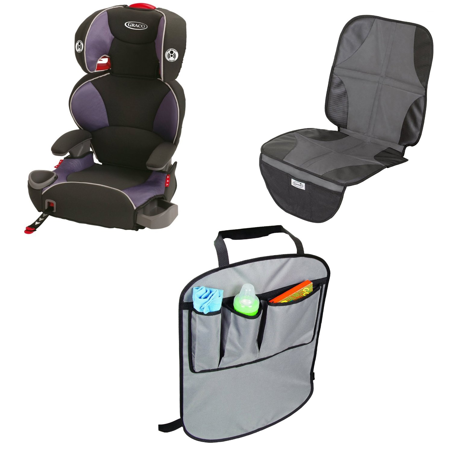 Graco AFFIX Youth Booster Seat with Latch System & Car Seat Mat and Backseat Kick Protectors, Atomic
