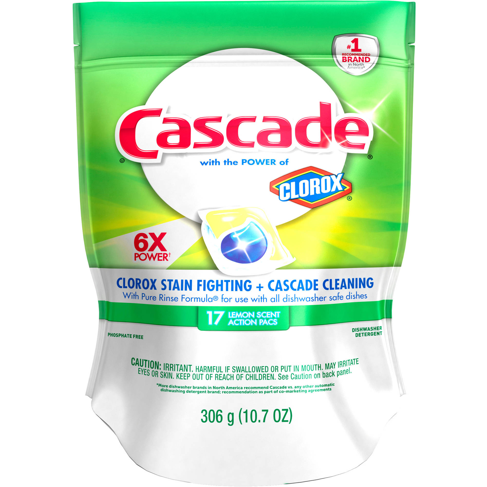 Cascade ActionPacs With The Power Of Clorox Dishwasher Detergent Lemon Burst (choose your size)