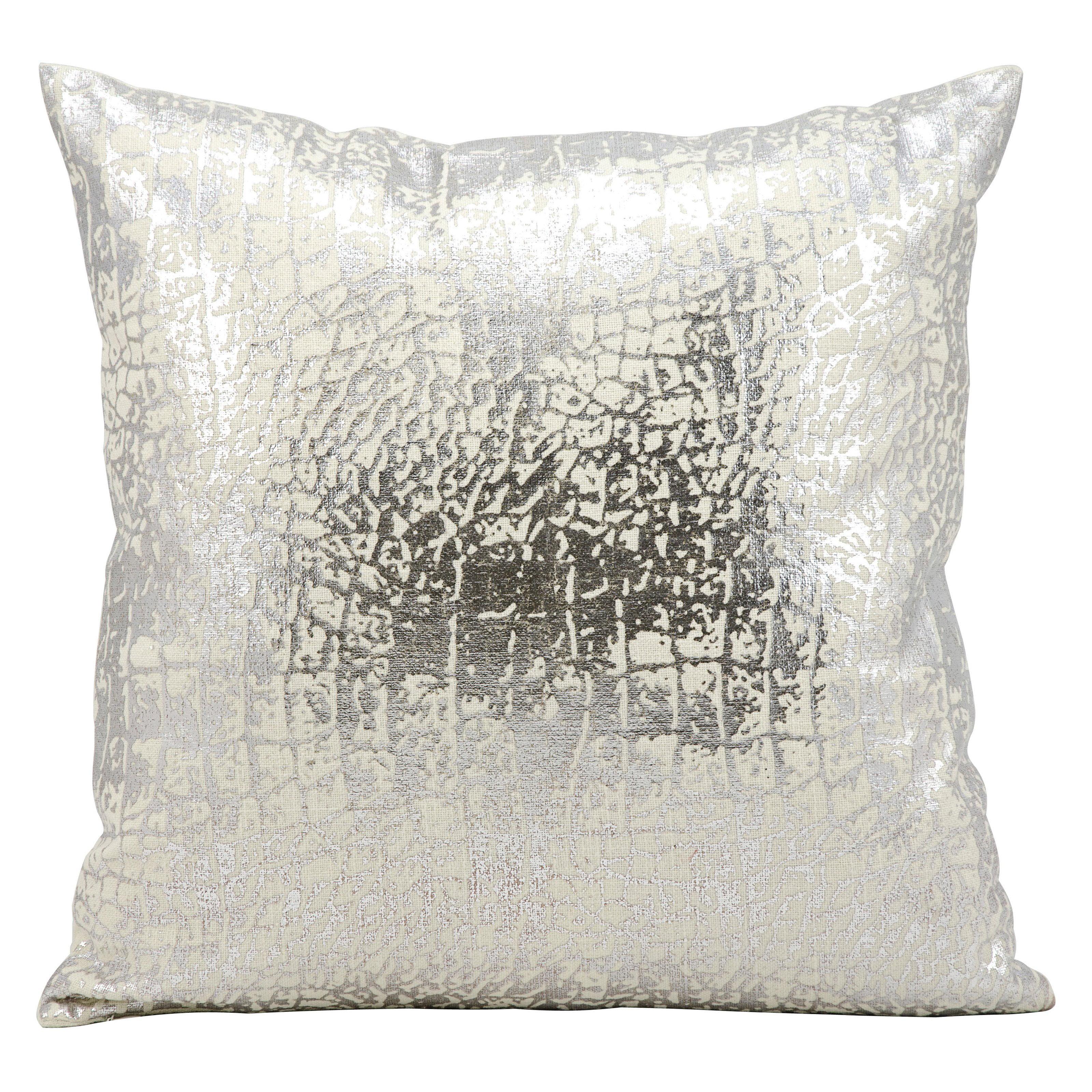 Kathy Ireland Metallic Snake Skin Silver Throw Pillow