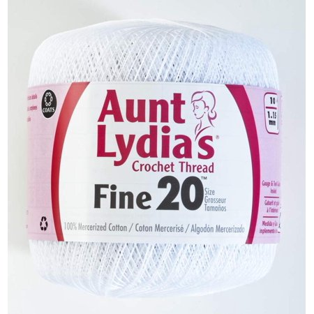 Fine Crochet Thread, 20, White, Aunt Lydia has been America's favorite brand for over 100 years By Coats Crochet - Fine Crochet Thread