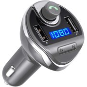 Bluetooth FM Transmitter for Car, Wireless FM Radio Transmitter Car Radio Adapter Car Charger with Dual USB Charging Ports,Hands Free Calling for All Smartphones(Gary)