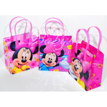 12 Minnie Mouse Party Favor Bags Birthday Candy Treat Favors Gifts Plastic Bolsas De Recuerdo