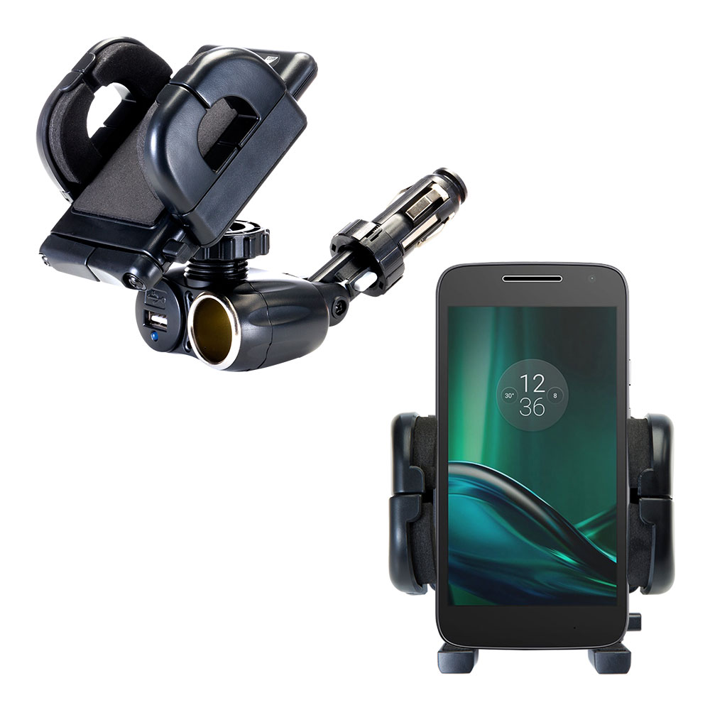 Dual USB / 12V Charger Car Cigarette Lighter Mount and Holder for the Motorola Moto G4 Play
