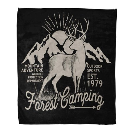 SIDONKU 50x60 inch Super Soft Throw Blanket Moose Forest Camping Graphic Deer Mountain Silhouette Stag Drawing Home Decorative Flannel Plush Blanket