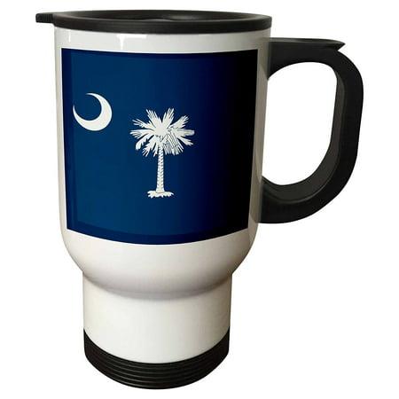 3Drose Flag Of South Carolina Sc   Us American United State Of America Usa White Palmetto Tree Indigo Blue  Travel Mug  14Oz  Stainless Steel