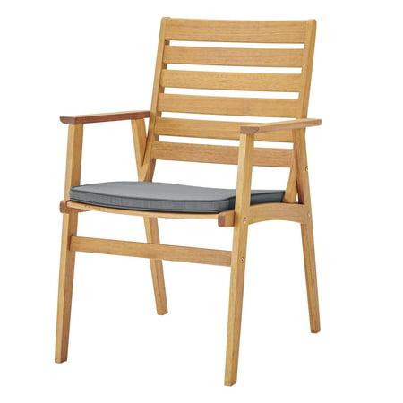 Contemporary Modern Urban Designer Outdoor Patio Balcony Garden Furniture Dining Chair Set, Fabric Wood, Natural Grey Gray ()