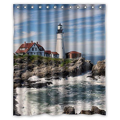 Hellodecor Lighthouse Shower Curtain Polyester Fabric Bathroom Decorative Curtain Size 60x72 Inches Walmart Com Walmart Com