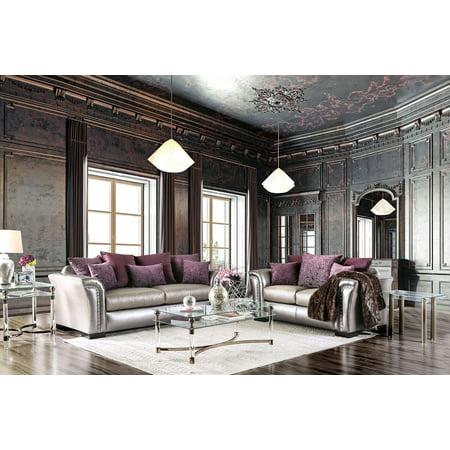 Galve Transitional Style Sofa Set Upholstered in Pewter Velvet-like Fabric ()