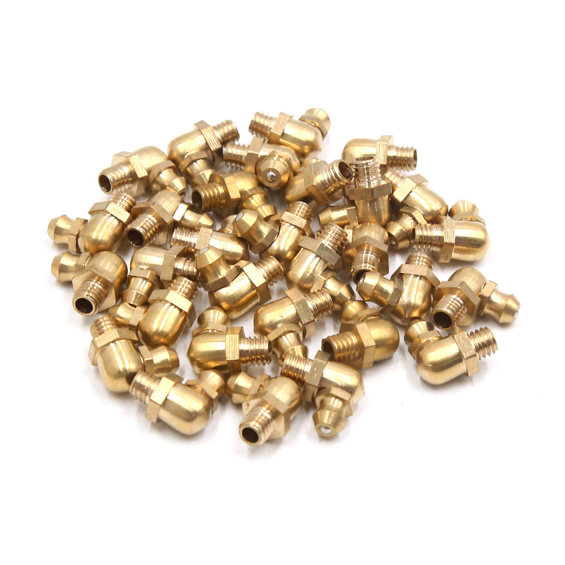 30Pcs M6 x 1 Thread 90 Degree Angle Brass Grease Zerk Nipple Fitting for Car