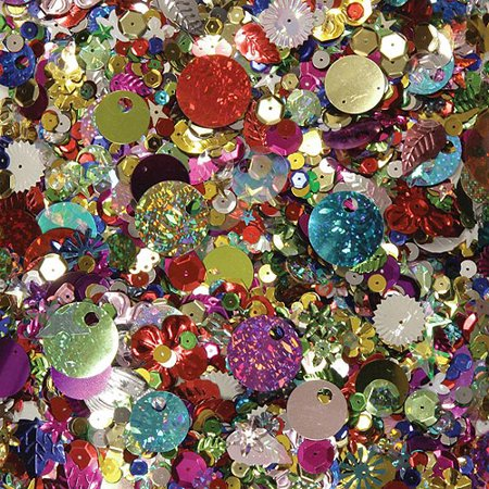 School Smart Multi-Purpose Assorted Shape Sequin and Spangle, Assorted Size, Assorted Color, 1 lb