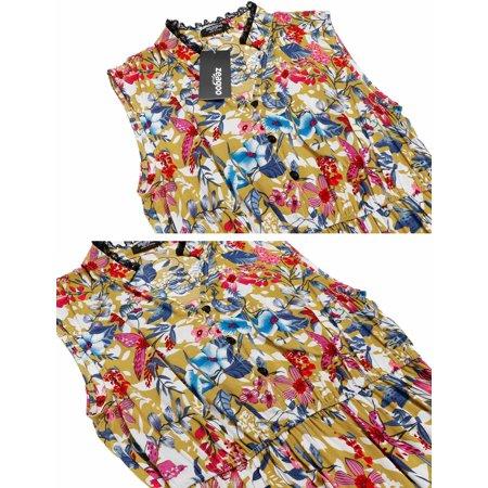 Women Dress Sleeveless Vintage Lace Patchwork O Neck Bohemian Tunic Dress Caroj - image 2 de 8