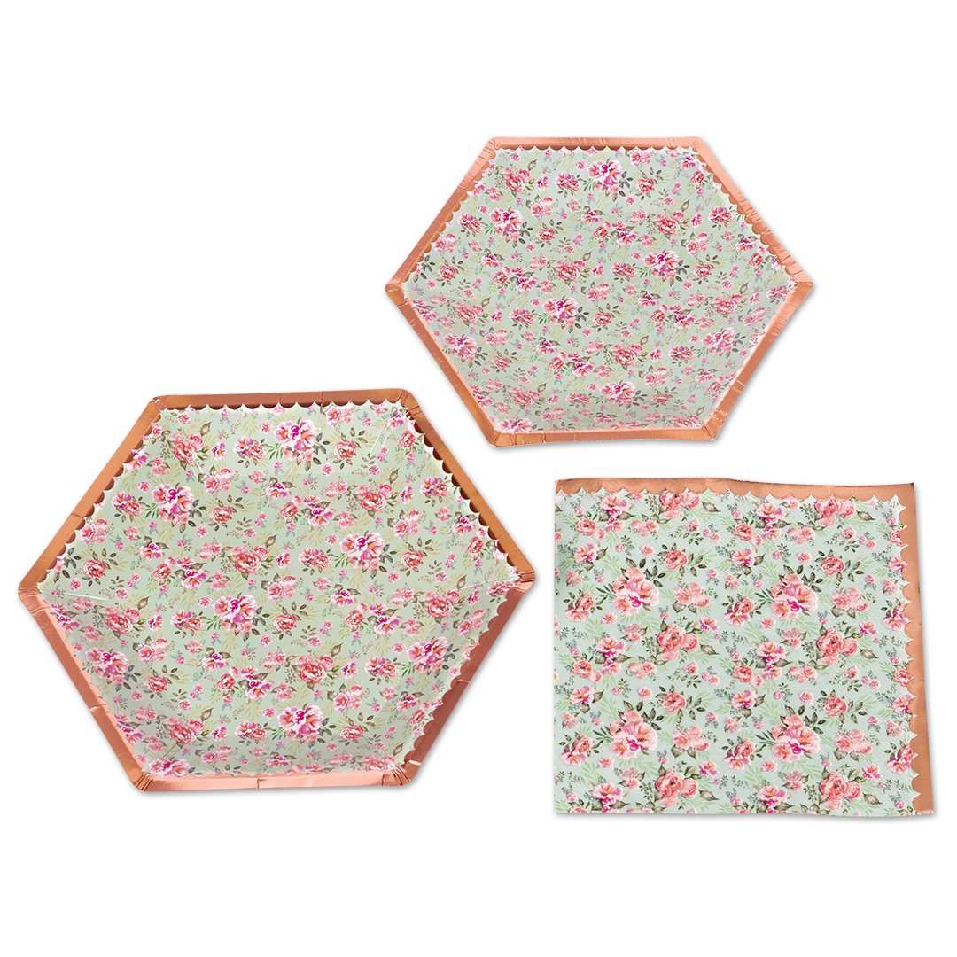 Koyal Wholesale Vintage Floral Tea Party Set, Baby Blue Peonies, 48 Piece Set 9-Inch, 7-Inch Plates, 50-Pack Napkins