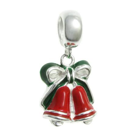 0e76e675f Queenberry - Queenberry Sterling Silver Christmas Bell Enamel European  Style Dangle Bead Charm Fits Pandora - Walmart.com