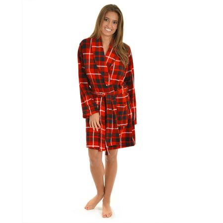 6b36b6455c2d9c Totaly Pink - Womens Bath Robe Red Black White Plaid Print Plush Fleece  Short Bath Robe - Walmart.com
