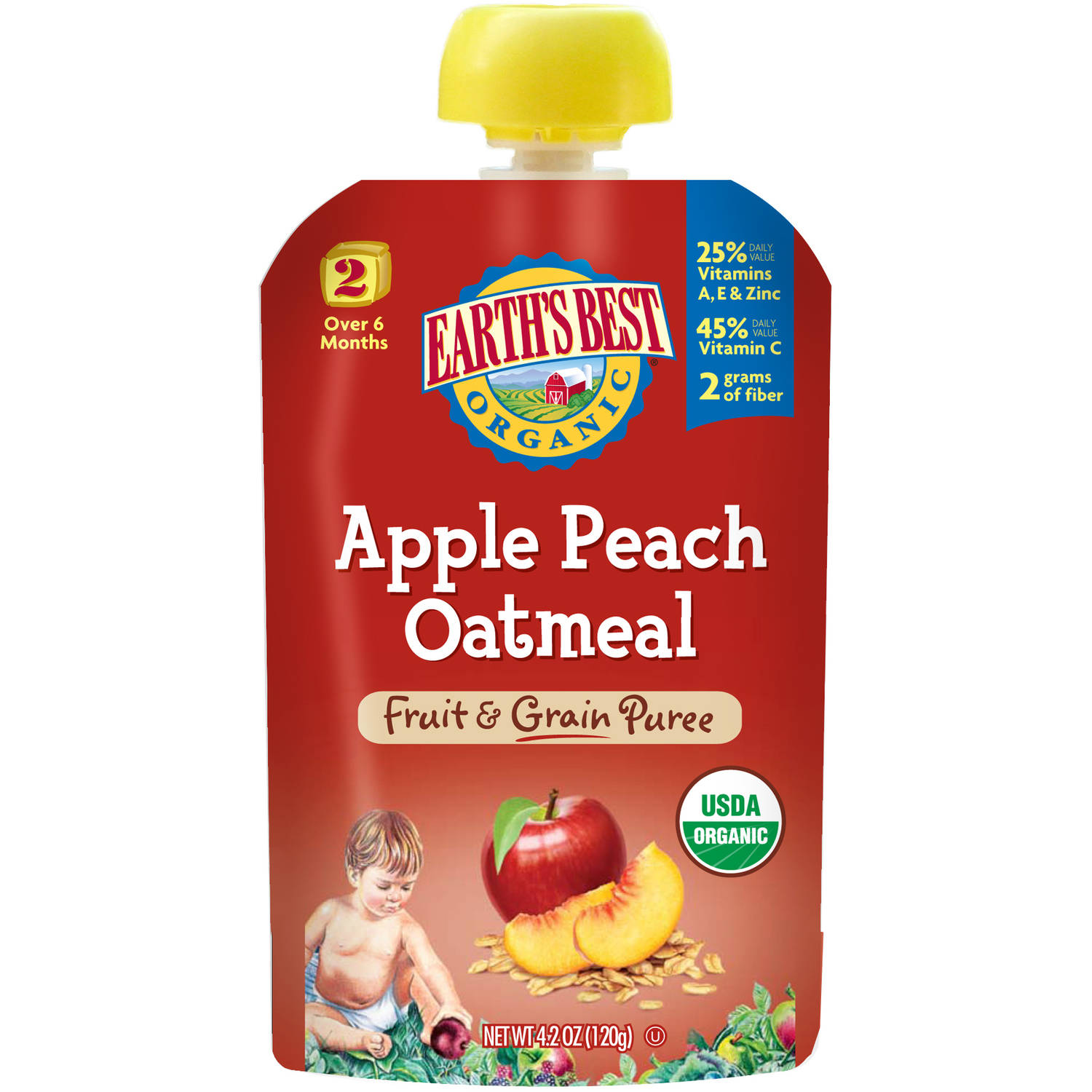 Earth's Best Organic Apple Peach Oatmeal Fruit & Grain Puree, 4.2 oz, (Pack of 6) by Earth%27s Best
