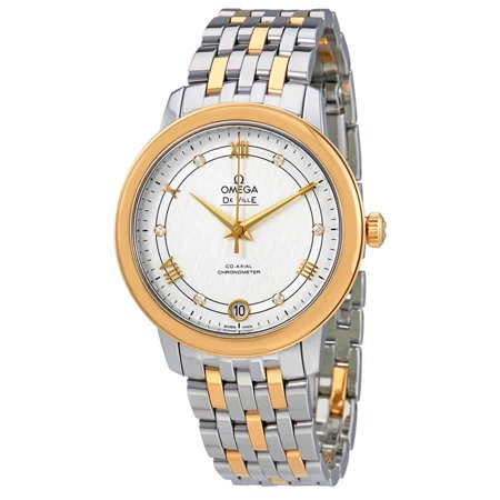 Omega De Ville Prestige Co-Axial Silver Diamond Dial Ladies Watch 424.20.33.20.52.001