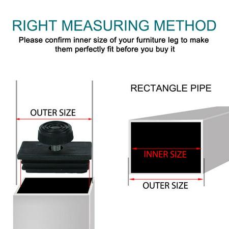 Leveling Feet 30 x 60mm Rectangle Tube Inserts Kit Furniture Glide Adjustable Leveler for Desk Table Sofa Leg 8 Sets - image 6 de 7