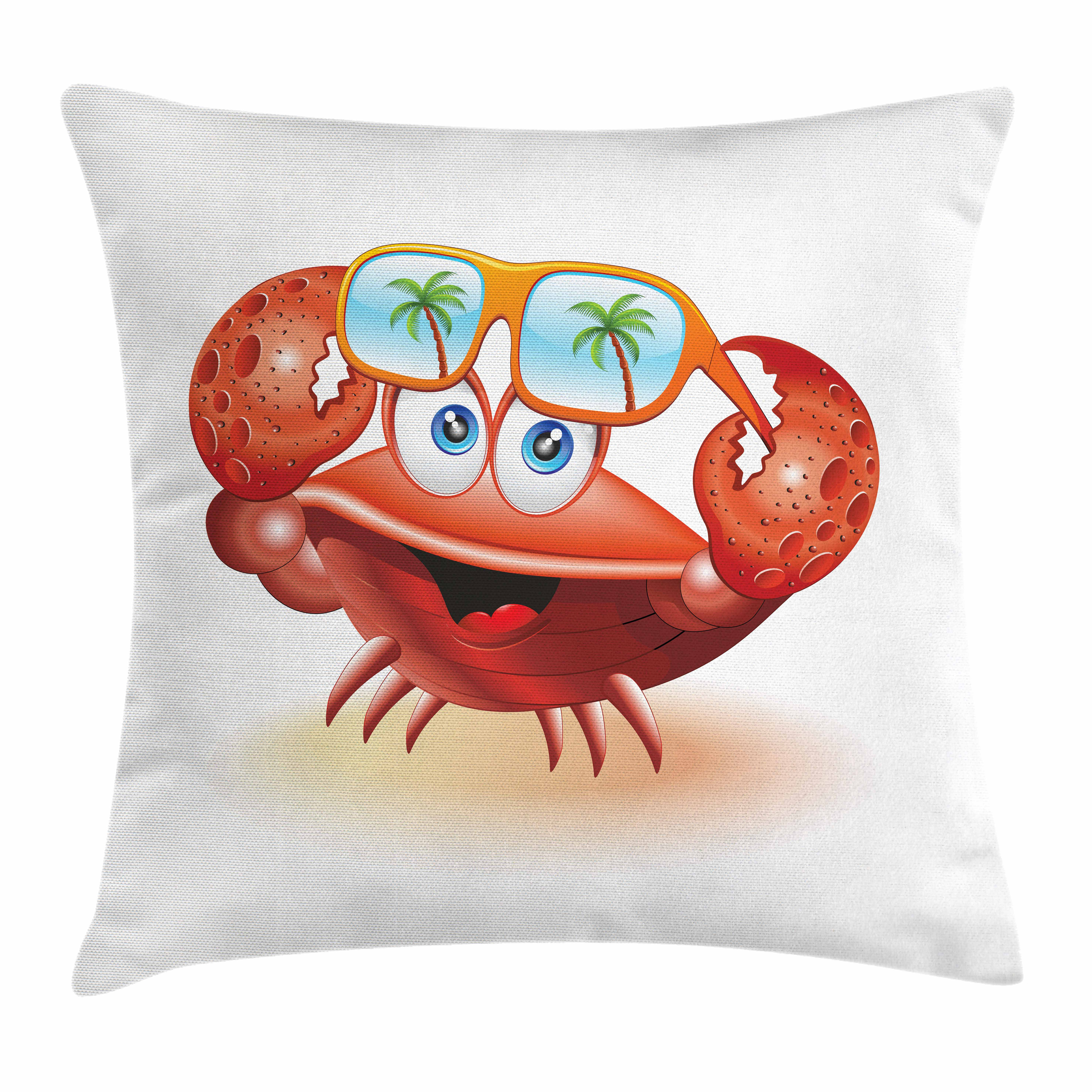 Crabs Throw Pillow Cushion Cover, Comical Oceanic Character Looking Under His Sunglasses with Palm Trees, Decorative Square Accent Pillow Case, 20 X 20 Inches, Vermilion Orange Blue, by Ambesonne