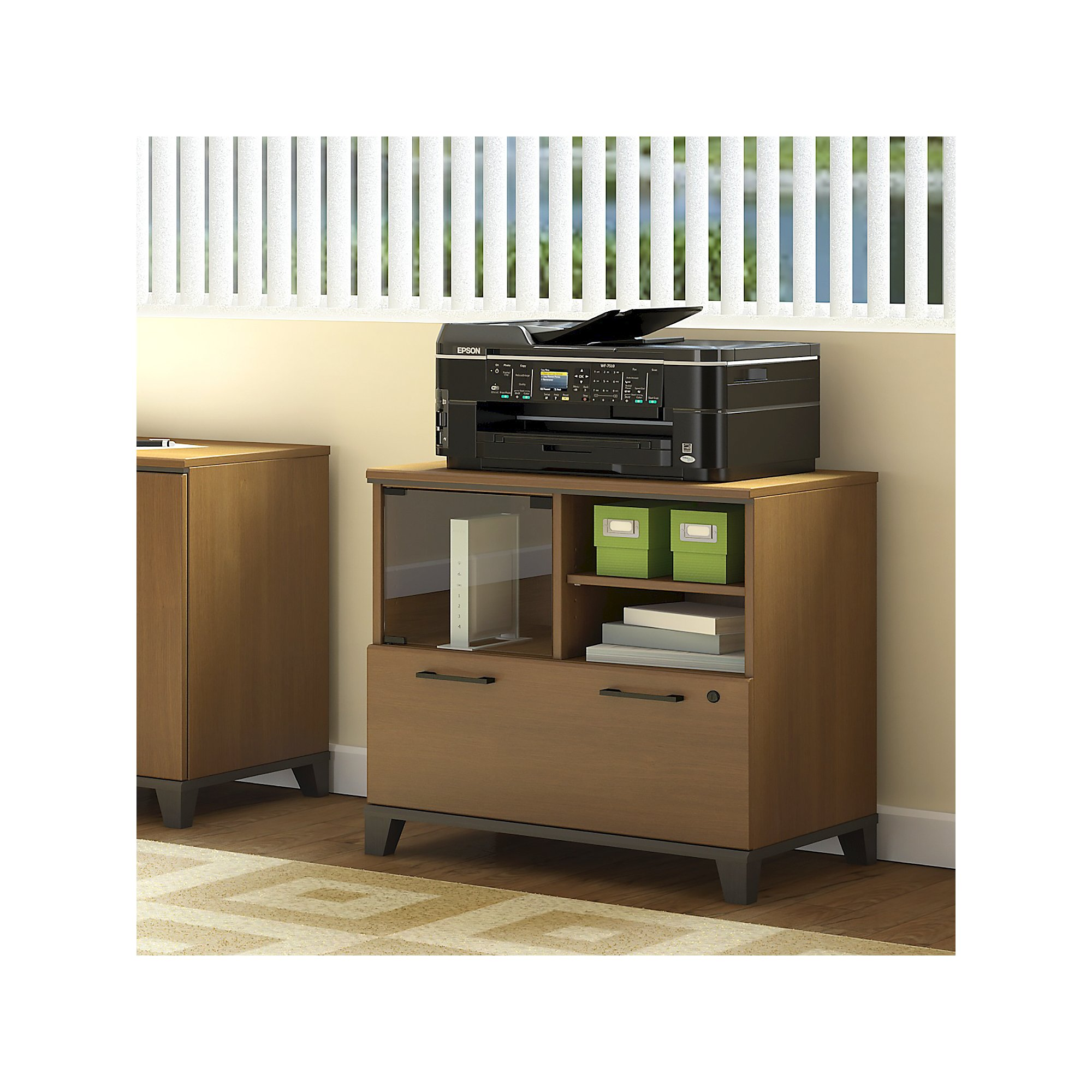 Bush Furniture Achieve Printer Stand File Cabinet In Warm Oak