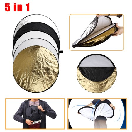 Round 24-inch / 60cm 5-in-1 Portable Collapsible Multi Disc Camera Light Reflector/Diffuser Kit Photography with Bag for Studio or Any Photography Situation-Silver, Gold, White, Translucent and Black Collapsible Disc Light Reflector