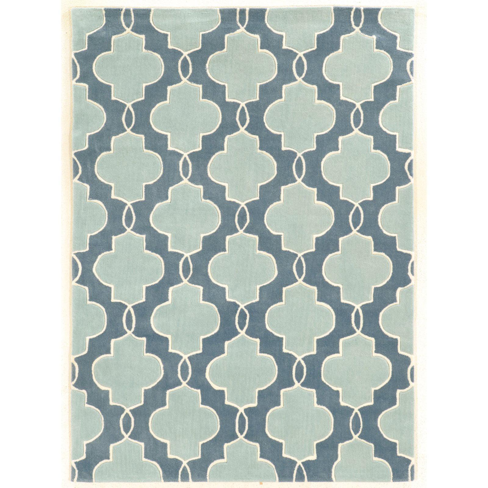 Linon Trio Collection Blue Pattern Indoor Area Rug