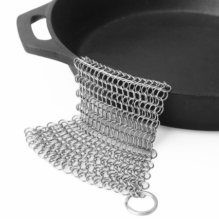 Silver Cast (Cast Iron Cleaner.7x7 Steel Scrubber - Cookware Cleaner For Skillet, Wok, Pot, Pan)