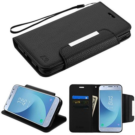 Phone Case For Samsung Galaxy J3 2018, J337, J3 V 3rd Gen, J3 Star, J3 Achieve, Express Prime 3 - Leather Flip Wallet Case Cover Stand Pouch Book Magnetic Buckle with Hand Strap BLACK