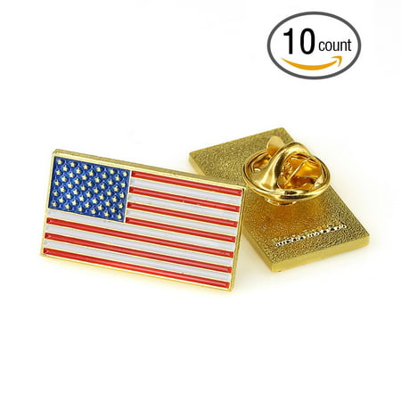 Exquisite American Flag Lapel Pin -The Stars and Stripes Lapel Pin (Rectangle 10 pc)