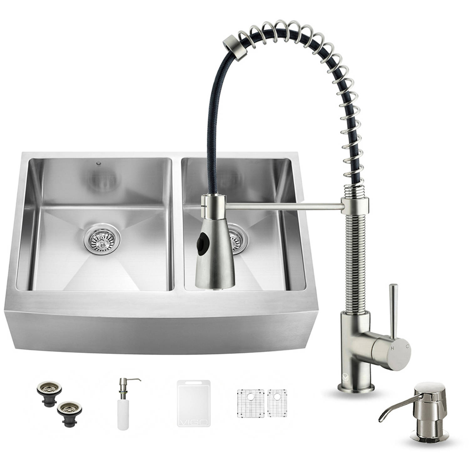 "Vigo All-in-One 33"" Farmhouse Stainless Steel Double Bowl Kitchen Sink and Faucet Set"