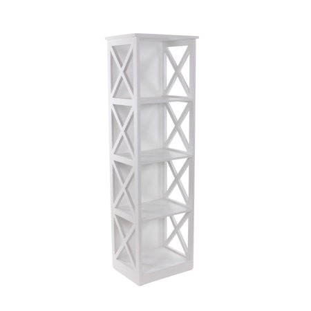 Decmode Contemporary 51 x 16 inch sleek wooden four-tiered shelf