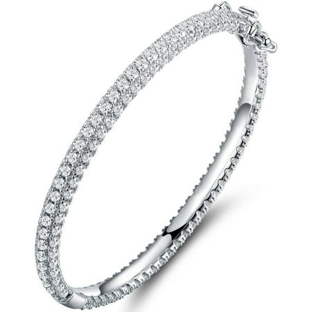 Swarovski Elements 18kt White Gold-Plated Silver Bangle Bracelet
