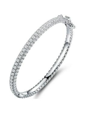 Swarovski Elements 18kt White Gold-Plated Silver Bangle Bracelet