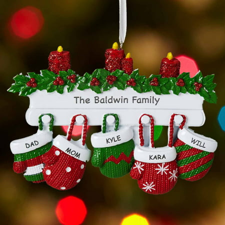personalized mitten family christmas ornament